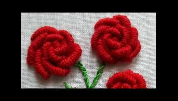 Bullion Knot Stitch Rose Flower