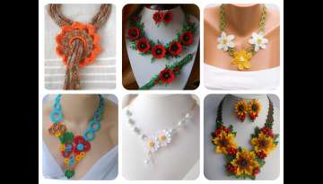 Knit necklaces. Knit Jewelry.