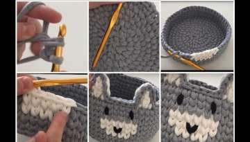 Crochet Basket with T-Shirt Yarn (Mini Rabbit Basket) ????