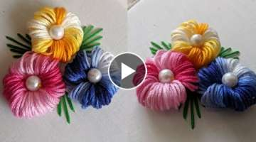 Hand Embroidery For flower design trick/idea