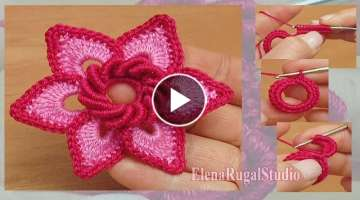 Irish Crochet Double Layered Flower Tutorial 19 Blume häkeln
