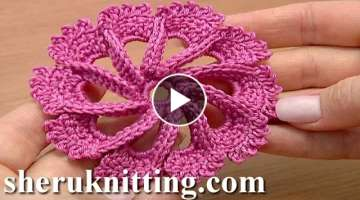 Crochet 3D Flower Twisted Petals How to Tutorial