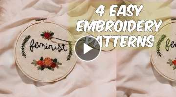 Embroidery for Beginners 4 Easy Patterns