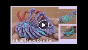 How to Crochet 3D Beautiful Leaf Tutorial 48
