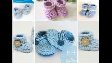 How to crochet cuffed baby booties for beginners