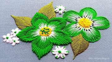 Hand Embroidery Green Flower