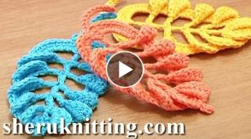 3D Crochet Leaf Tall Stitches Tutorial