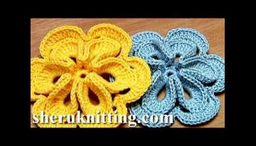 Crochet Flower with 3D Center
