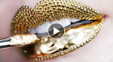 Makeup Tutorial Step by Step Using Gold Pigment & Studs