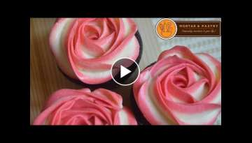 Two tone buttercream rose cake