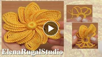 3D Crochet Flower With Beautiful Different Petals Tutorial