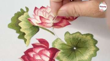 Blooming Lotus Flowers Embroidery Flowers