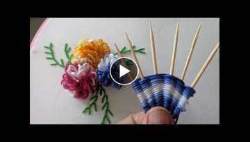 Amazing & Easy Hand embroidery flower design trick