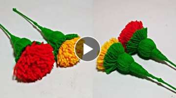 Marigold Woolen Flower Latest